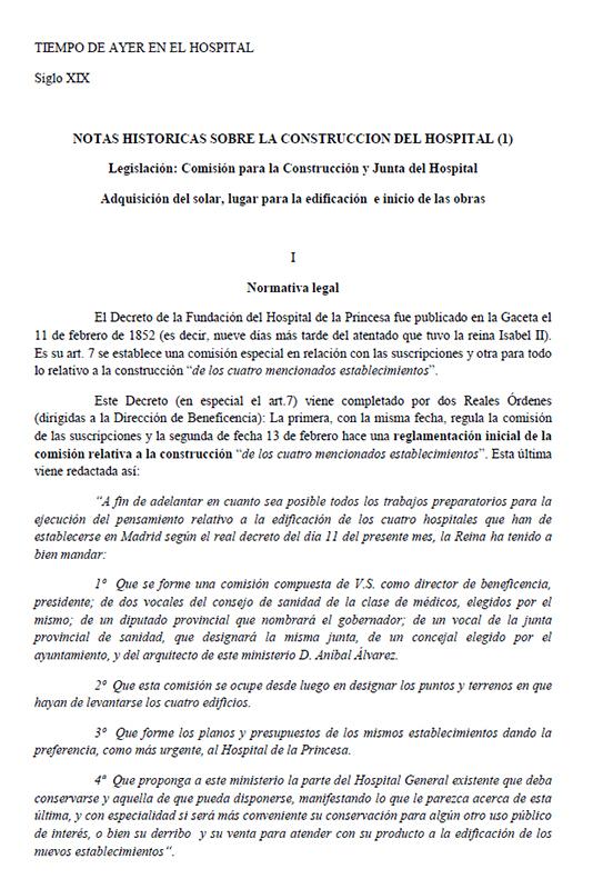 NOTAS HISTORICAS SOBRE LA CONSTRUCCION DEL HOSPITAL (1)