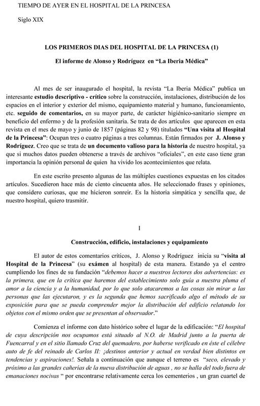 LOS PRIMEROS DIAS DEL HOSPITAL DE LA PRINCESA (1)