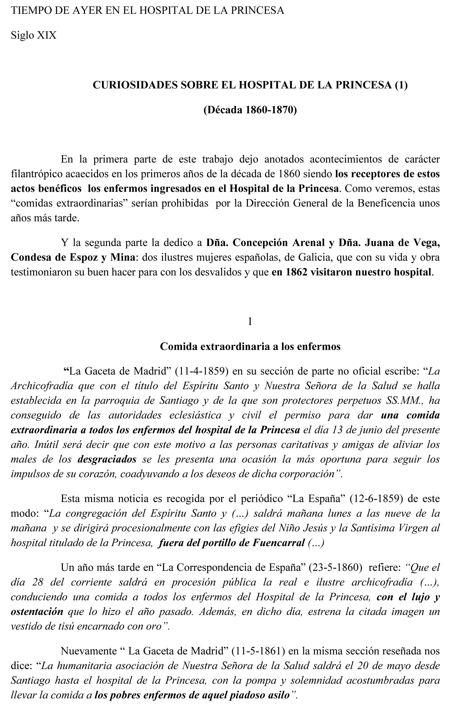 CURIOSIDADES SOBRE EL HOSPITAL DE LA PRINCESA (1)