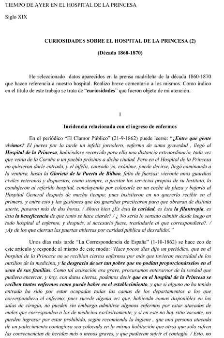 CURIOSIDADES SOBRE EL HOSPITAL DE LA PRINCESA (2)