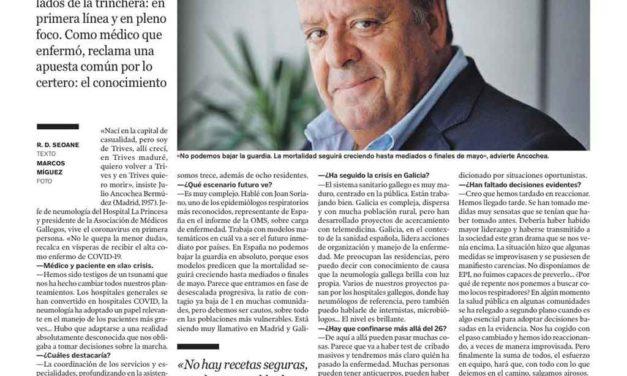Julio Ancochea, Socio Honorífico de AHUPA también ha sobrepasado ésta crisis (como otras en nuestro hospital)