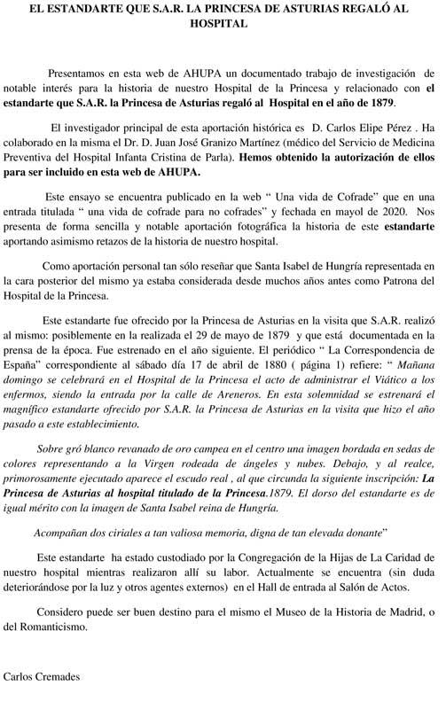 EL ESTANDARTE QUE S.A.R. LA PRINCESA DE ASTURIAS REGALÓ AL HOSPITAL